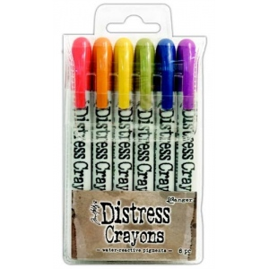 Ranger - Tim Holtz - Distress - Crayons Set #2 (Festive Berries/Rusty Hinge/Fossilized Amber/Peeled Paint/Chipped Sapphire/Seedless Preserves)