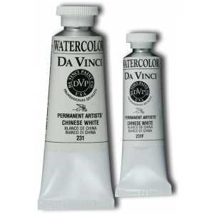 Da Vinci Artists' Watercolor Paint 15ml Chinese White: White/Ivory, Tube, 15 ml, Watercolor, (model DAV231F), price per tube