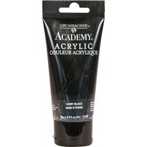Grumbacher® Academy® Acrylic Paint 75ml Ivory Black: Black/Gray, Tube, 75 ml, Acrylic