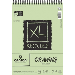 "Canson® XL® 9"" x 12"" Recycled Drawing Pad (Top Wire): Wire Bound, White/Ivory, Pad, 60 Sheets, 9"" x 12"", Smooth, (model C100510915), price per 60 Sheets pad"
