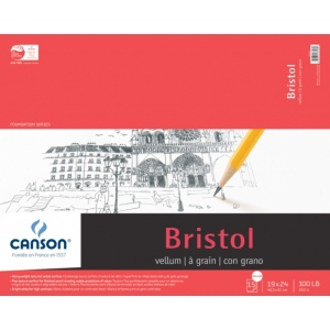 "Canson® Foundation Series 19"" x 24"" Foundation Bristol Sheet Pad; Binding: Fold Over; Color: White/Ivory; Format: Pad; Quantity: 15 Sheets; Size: 19"" x 24""; Texture: Vellum; (model C100511021), price per 15 Sheets pad"