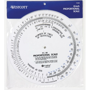 "Westcott® C-Thru® 8"" Proportional Scale; Color: White/Ivory; Material: Plastic; Size: 8""; (model PS80), price per each"