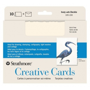 """Strathmore® 5 x 6.875 Ivory/Deckle Creative Cards 10-Pack; Color: White/Ivory; Envelope Included: Yes; Format: Card; Quantity: 10 Cards; Size: 5"""" x 6 7/8""""; Weight: 80 lb; (model ST105-130), price per 10 Cards"""