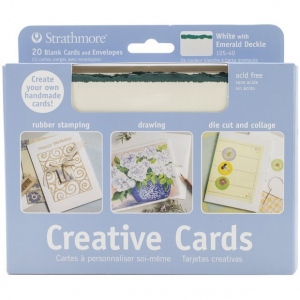 "Strathmore® 5 x 6.875 White/Emerald Deckle Creative Cards 20-Pack: Green, White/Ivory, Envelope Included, Card, 20 Cards, 5"" x 6 7/8"", 80 lb, (model ST105-40), price per 20 Cards"