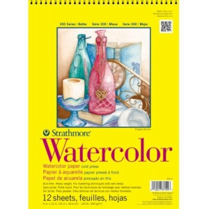 "Strathmore 300 Series Watercolor Pad: Wire Bound, 9"" x 12"", 12 Sheets"