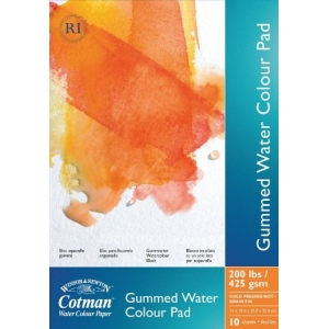 "Winsor & Newton™ Cotman™ 9"" x 12"" Watercolor Cold Press Paper Gummed Pad : Fold Over, Pad, 9"" x 12"", Cold Press, Watercolor, 200 lb, (model 6654570), price per pad"