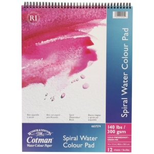 "Winsor & Newton™ Cotman™ 12"" x 16"" Watercolor Cold Press Paper Spiral Pad : Wire Bound, Pad, 12"" x 16"", Cold Press, Watercolor, 140 lb, (model 6657574), price per pad"