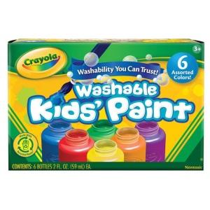 Crayola® Washable Kids' Paint 6-Color Bottle Set; Color: Multi; Format: Tube; Size: 2 oz; (model 54-1204), price per set