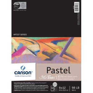 "Canson® Mi-Teintes® Artist Series 9"" x 12"" Wire Bound Pad White and Glassine; Binding: Wire Bound; Color: White/Ivory; Format: Pad; Quantity: 16 Sheets; Size: 9"" x 12""; Texture: Heavy, Light; (model C100510867), price per 16 Sheets pad"