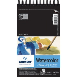 "Canson® Montval® Artist Series 5 1/2"" x 8 1/2"" Cold Press Watercolor Pad (Top Wire); Binding: Wire Bound; Color: White/Ivory; Format: Pad; Quantity: 12 Sheets; Size: 5 1/2"" x 8 1/2""; Texture: Cold Press; (model C100511057), price per 12 Sheets pad"