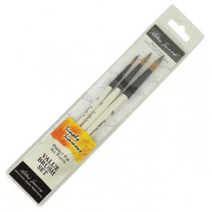 Daler-Rowney Simply Simmons To The Point 3-Brush Set: Synthetic Bristle, Acrylic, (model SS255300007), price per set