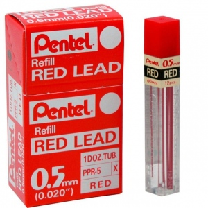 Pentel® Super Hi-Polymer® Colored Lead Red .5mm: Red/Pink, .5mm, 12-Pack, Lead, (model PPR-5/BX), price per 12-Pack box
