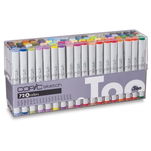 Copic® Sketch 72-Color Marker Set A: Multi, Double-Ended, Alcohol-Based, Refillable, Broad Nib, Brush Nib, (model S72A), price per set