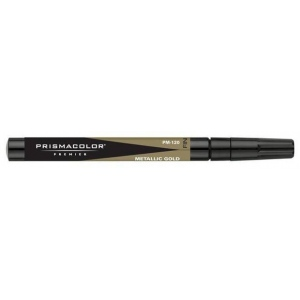 Prismacolor® Premier Art Marker Metallic Gold Fine: Metallic, Alcohol-Based, Dye-Based, Extra Broad Nib, (model PM120), price per each