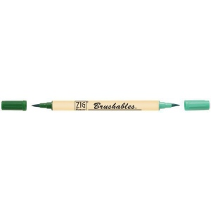 Zig®  Brushables® Marker Pure Green; Color: Green; Double-Ended: Yes; Ink Type: Water-Based; Tip Type: Brush Nib; (model MS-7700-040), price per each