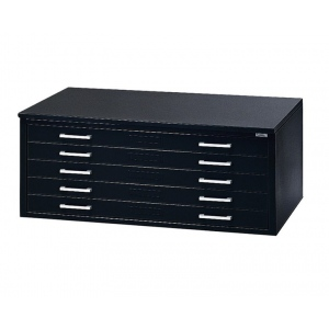 "Mayline® 5-Drawer C-File Black: 1000 Sheets, Black/Gray, Steel, 5-Drawer, 35 5/8""d x 46 3/4""w x 15 3/8""h, (model 7868CB), price per each"