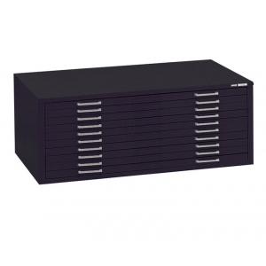 "Mayline® 10-Drawer C-File Black; Capacity: 1000 Sheets; Color: Black/Gray; Material: Steel; Quantity: 10-Drawer; Size: 28 3/8""d x 40 3/4""w x 15 3/8""h; (model 7977CB), price per each"