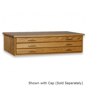 "SMI Medium Oak Finish 3 Drawer Flat File: 10 1/2"" x 40"" x 27 3/4"""
