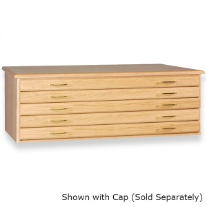 "SMI Natural Oak Finish 5 Drawer Flat File: 33 3/4"" x 46"" x 16 5/8"""