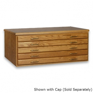 "SMI Medium Oak Steel 5 Drawer Guide Flat File: 33 3/4"" x 47"" x 16 5/8"""