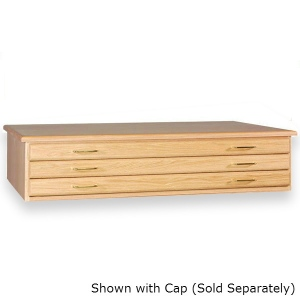 "SMI Natural Oak Steel 3 Drawer Guide Flat File: 10 1/2"" x 47"" x 33 3/4"""