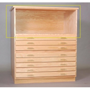 "SMI Natural Oak Steel Drawer Guide Flat File Bookshelf: 33"" x 47"" x 16 5/8"""