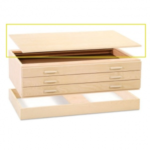 "SMI Natural Oak Steel Drawer Guide Flat File Cap: 33 7/8"" x 48 5/8"" x 1"""