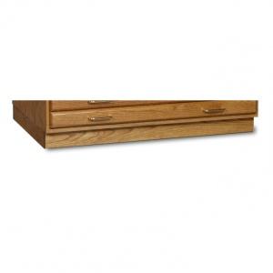 "SMI Medium Oak Steel Drawer Guide Flat File Flush Base: 25 1/2"" x 40 3/4"" x 3 1/4"""
