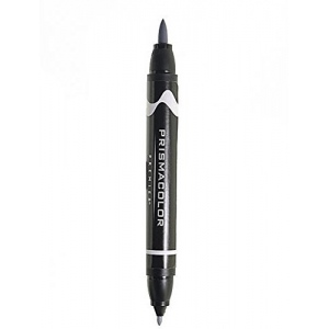 Prismacolor® Premier Brush Marker Neutral Grey 10%: Black/Gray, Double-Ended, Alcohol-Based, Dye-Based, Brush Nib, Fine Nib, (model PB216), price per each