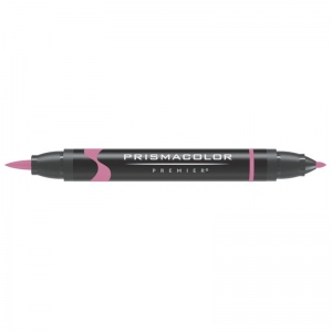Prismacolor® Premier Brush Marker Rhodamine Light: Red/Pink, Double-Ended, Alcohol-Based, Dye-Based, Brush Nib, Fine Nib, (model PB054), price per each