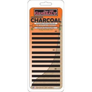 General's® Compressed Charcoal Stick Set; Color: Black/Gray; Degree: 2B, 4B, 6B; Format: Stick; Type: Compressed; (model 95712ABP), price per set