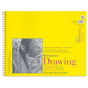 """Strathmore® 300 Series 14"""" x 17"""" Wire Bound Drawing Pad 50 Sheets: Wire Bound, White/Ivory, Pad, 50 Sheets, 14"""" x 17"""", Medium, 70 lb, (model ST340-14), price per 50 Sheets pad"""