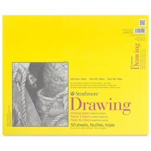 """Strathmore® 300 Series 14"""" x 17"""" Glue Bound Drawing Pad; Binding: Glue Bound; Color: White/Ivory; Format: Pad; Quantity: 50 Sheets; Size: 14"""" x 17""""; Texture: Medium; Weight: 70 lb; (model ST340-114), price per 50 Sheets pad"""