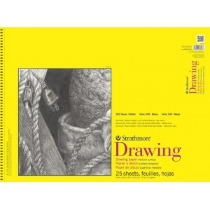 "Strathmore 300 Series Drawing Paper: 18"" x 24"", Wire Bound, Micro-Perforated, Pad of 25 Sheets"