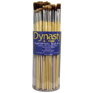 Dynasty® B700 Canister Series Bright Brush Assortment; Length: Long Handle; Material: Bristle; Shape: Bright; Type: Acrylic, Oil; (model B700BD), price per each