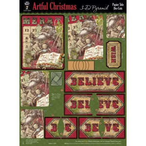 "Hot Off the Press 3-D Papier Tole Die Cuts Artful Christmas; Color: Multi; Size: 8 1/2"" x 11""; Type: Dimensional; (model HOTP8021), price per pack"