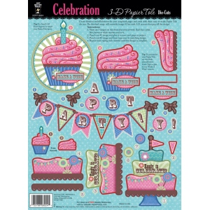 "Hot Off the Press 3-D Papier Tole Die Cuts Celebration: Multi, 8 1/2"" x 11"", Dimensional, (model HOTP8024), price per each"