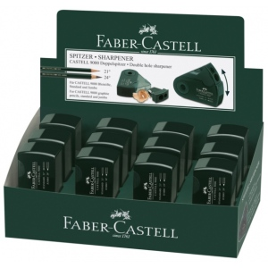 Faber-Castell® CASTELL 9000 Double-Hole Sharpener Display: Green, Two, Plastic, Manual, (model FC582800D), price per each