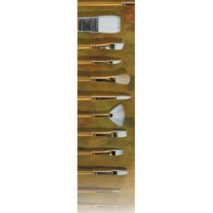 Prima White Gold Taklon: Flat, Size 8, Long Handle