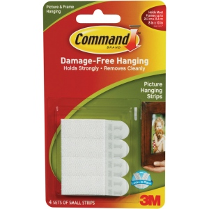 Command™ White Small Hanging Strips; Color: White/Ivory; Type: Picture Hanging Strips; (model 17202), price per pack