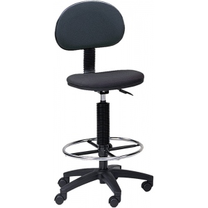 "Mayline® Multi-task Drafting Chair with Foot Ring; Arm Rest Included: No; Color: Black/Gray; Foot Ring Included: Yes; Height Range: 24"" - 29"", 30"" & Up, Under 24""; Seat Material: Fabric; (model 2660), price per each"