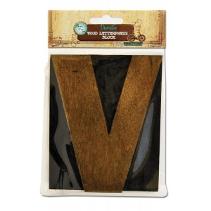 Bottle Cap Inc. Mixed Media Letter Press Block: Large V