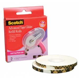 "3M Scotch Advanced Tape Glider ATG Refill Rolls: Acid Free, 1/4"" x 36 Yard, 2 Rolls per Box"