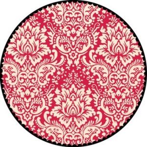 "Jenni Bowlin Studio Label Die Cut Paper: Red Circle Damask, 12"" x 12"""