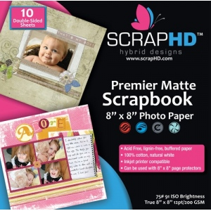 "ScrapHD Premier Matte Scrapbook Photo Paper: 8"" x 8"", Pack of 10"