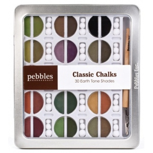 American Crafts Pebbles Chalk Set: Classic, Earth Tones, 30 Piece