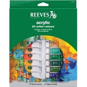 Reeves™ 10ml Acrylic 24-Color Set: Multi, Tube, 10 ml, Acrylic, (model 8493202), price per set