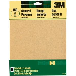 3M™ Aluminum Oxide Sandpaper Fine Grit: Fine, Rectangle, Sandpaper, (model 9001NA), price per pack