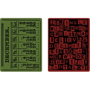 Sizzix Tim Holtz Alterations Texture Fades Embossing Folders: December Calendar, Holiday Words