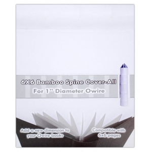 "Zutter Bamboo Spine Cover-Alls for 1"" Owires: 6"" x 6"", White, Bamboo"